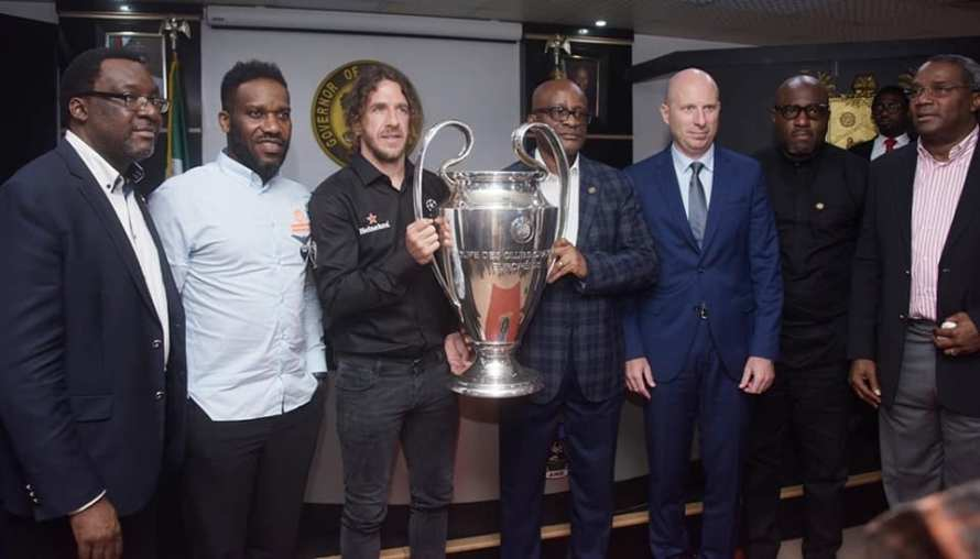 Lagos state receive EUFA CUP with Okocha