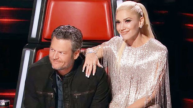 Blake Shelton reacts as Gwen Stefani replaces Adam Levine