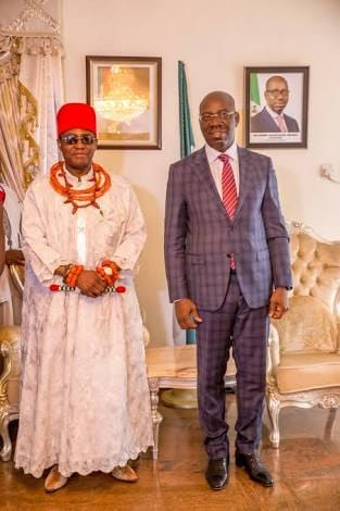 Obaseki celebrates with Oba of Benin on 3rd coronation anniversary